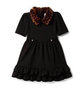 Faux Fur Collared Dress