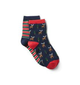 Striped And Reindeer Sock 2-Pack