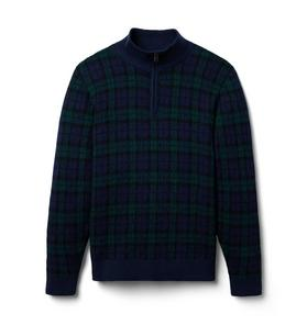 Plaid Half Zip Sweater