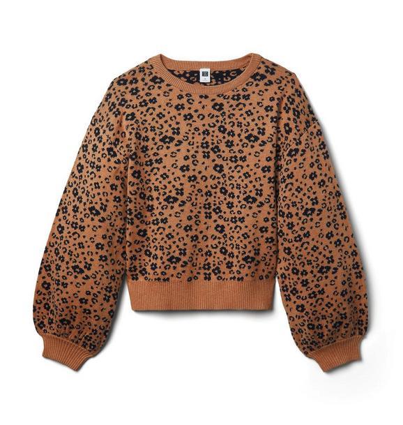 Janie and Jack Leopard Drop Sleeve Sweater