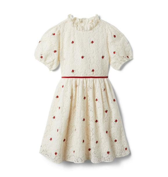 Janie and Jack Lace Embroidered Rose Puff Sleeve Dress