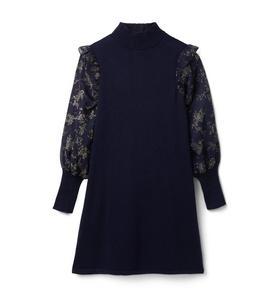 Glitter Floral Sleeve Sweater Dress