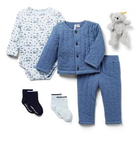 Baby 5-Piece Blue Quilted Gift Box