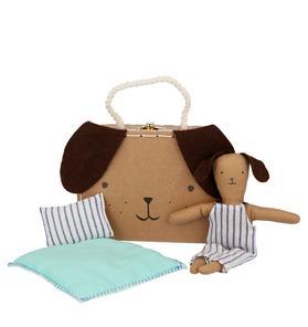 Meri Meri Stripy Puppy Mini Suitcase Doll