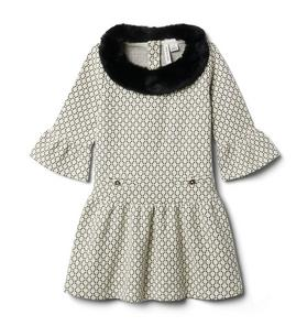 Metallic Weave Faux Fur Collar Dress