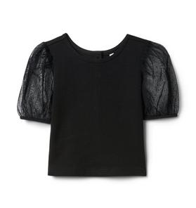 Dot Tulle Puff Sleeve Top