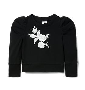 Flower Applique Puff Sleeve Sweatshirt