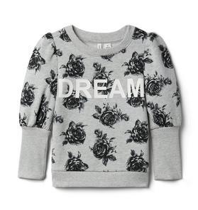 Rose Dream Puff Sleeve Sweatshirt