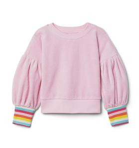 Rainbow Cuff Velour Sweatshirt