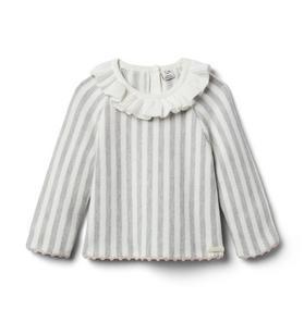 Baby Striped Ruffle Collar Sweater