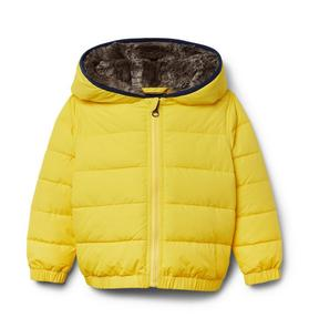 Faux Fur-Lined Hooded Puffer Jacket