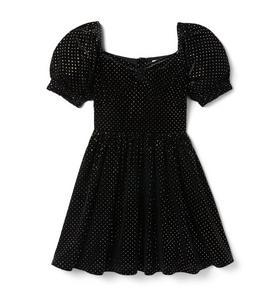 Metallic Dot Velvet Puff Sleeve Dress