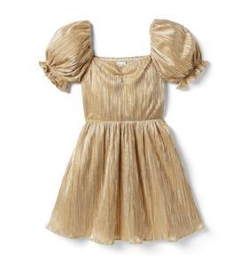 Metallic Plisse Puff Sleeve Dress