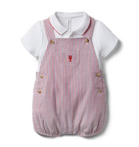 Baby 2-Piece Striped Lobster Shortall Set