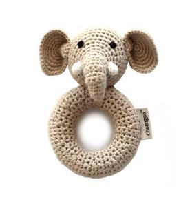 Cheengoo Elephant Ring Crocheted Rattle