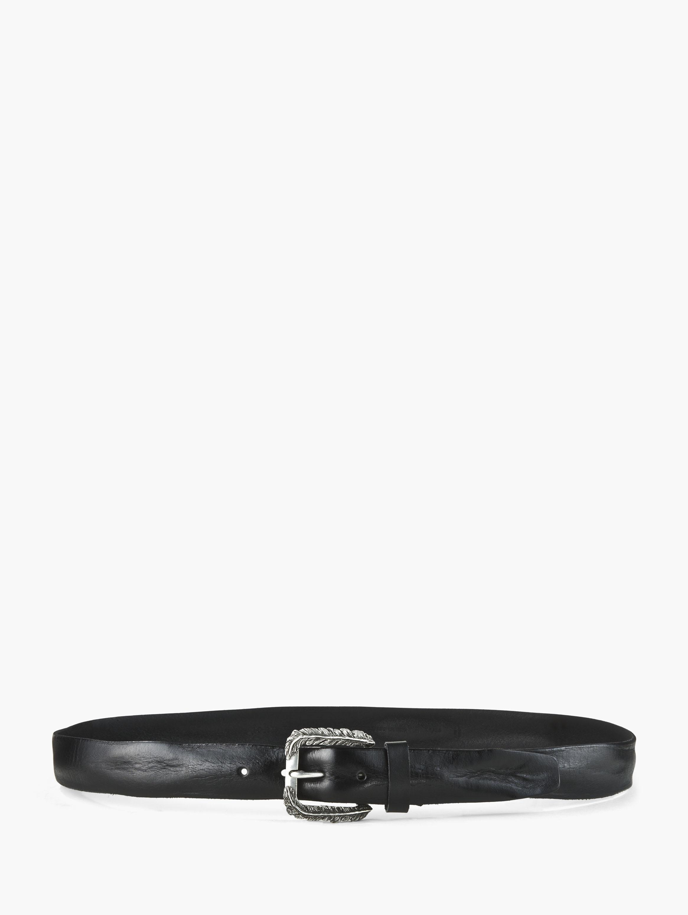 Feather Buckle Leather Belt