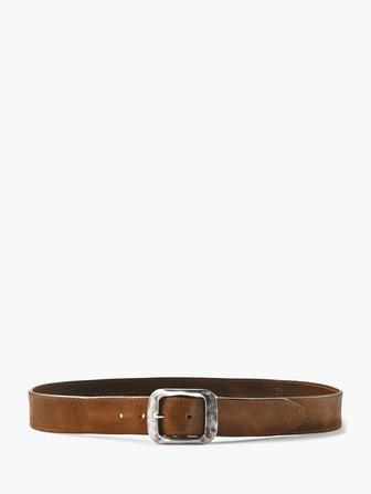 HAMMERED BUCKLE LEATHER BELT