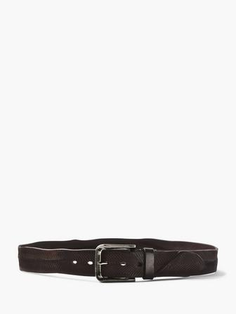 V-ETCHED LEATHER BELT