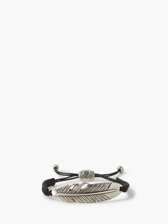 Silver Feather Adjustable Bracelet