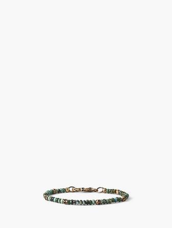 Brass Skull Beads And 4mm Color Beads Bracelet