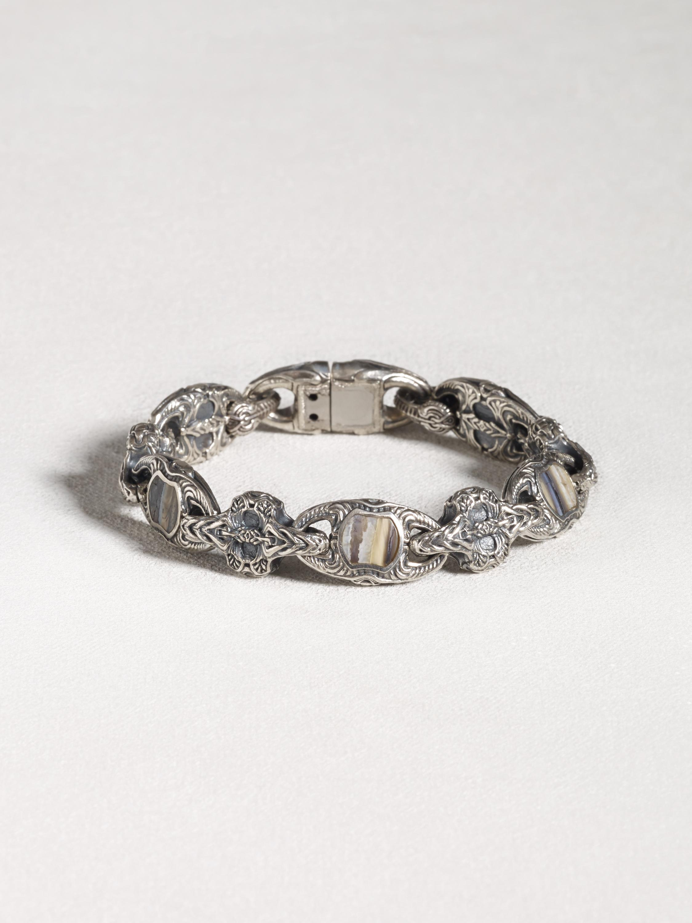Sterling Silver Wooly Mammoth Fossil Inlay Bracelet - John