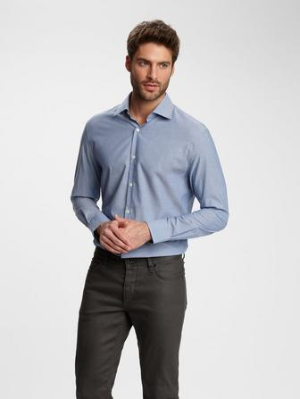 SLIM FIT SOLID CHAMBREY DRESS SHIRT