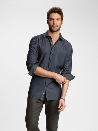 SLIM FIT DENIM DRESS SHIRT
