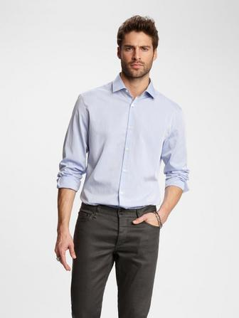 SLIM FIT TEXTURED PIN-DOT DRESS SHIRT