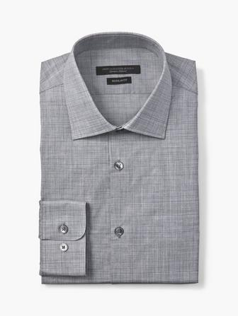 REGULAR FIT MICRO GRID DRESS SHIRT