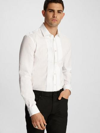 MYKE DRESS SHIRT WITH MICRO PLEAT FRONT