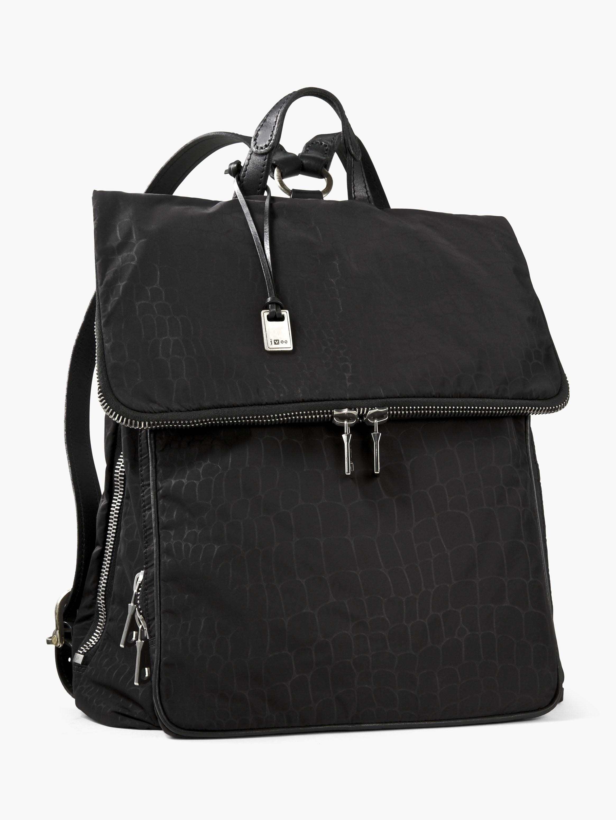 Embossed Nylon Fold-Over Backpack