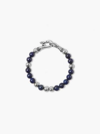 Silver & Lapis Beaded Bracelet