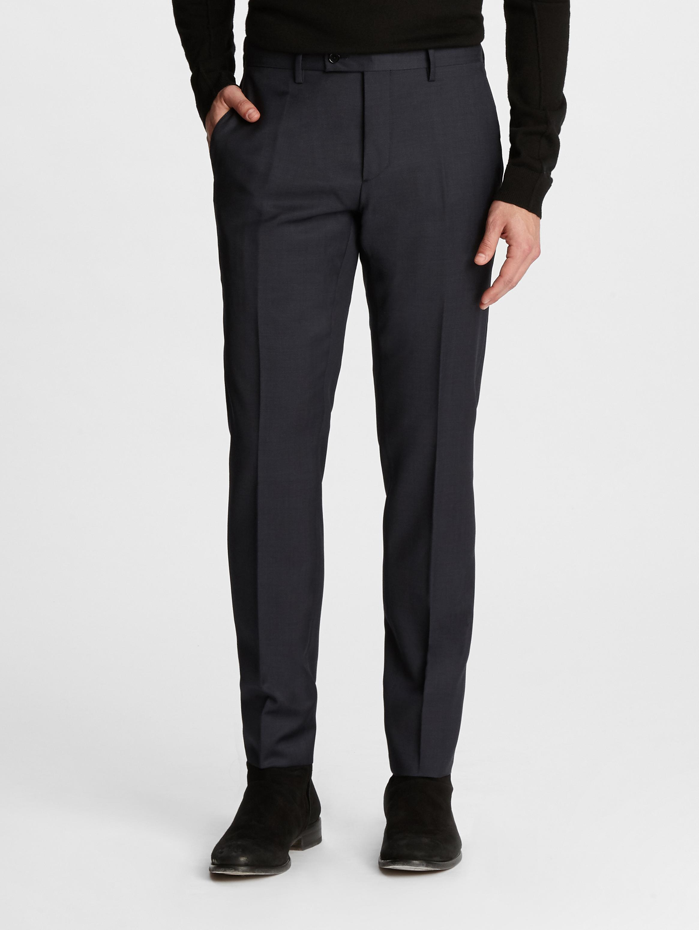 John Varvatos Jersey Trimmed Wool Slim Fit Trousers MKPUBW