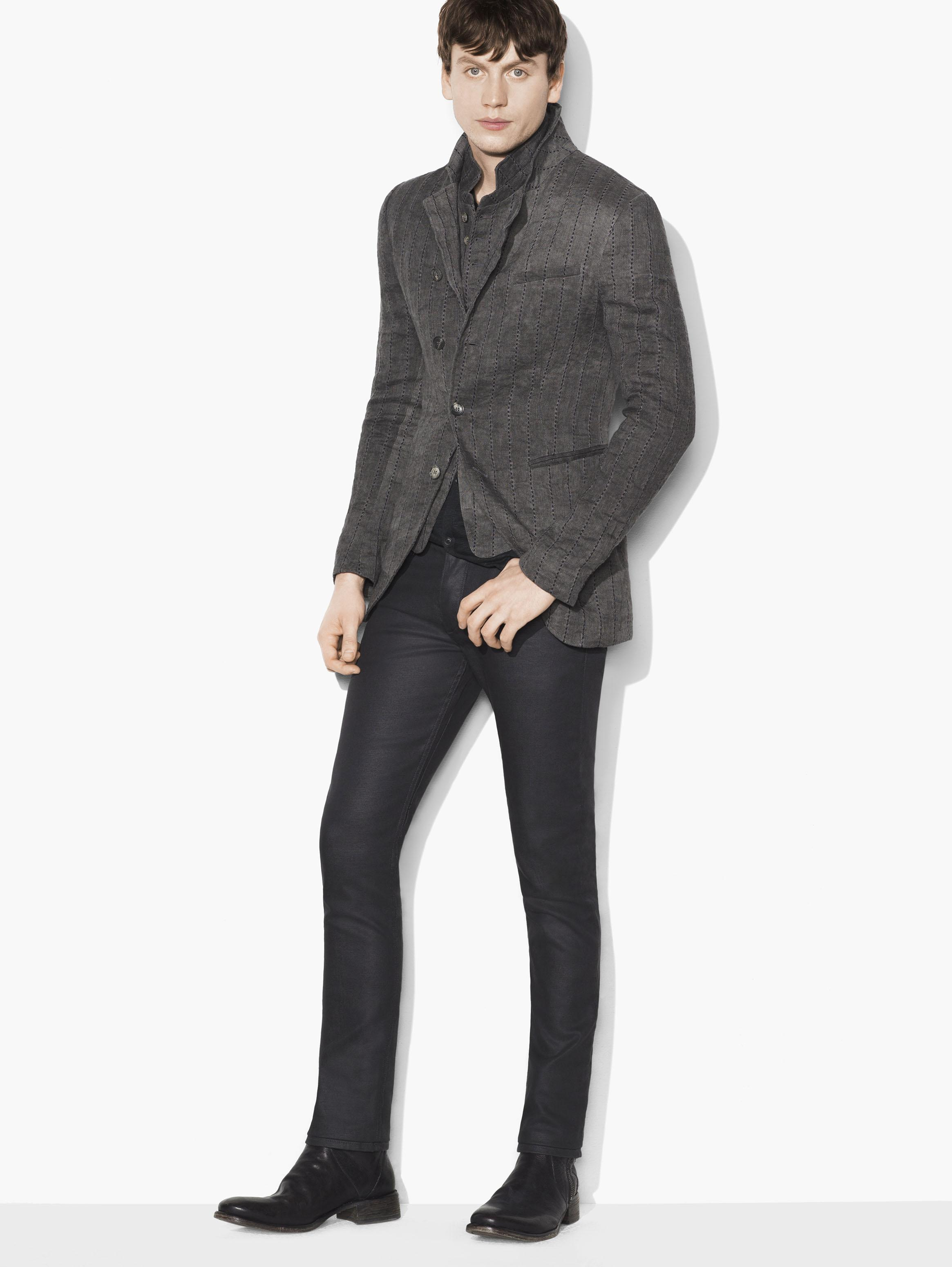 Pick Stitch Asymmetric Cutaway Jacket