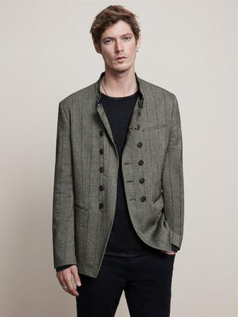 SLIM FIT DOUBLE BREASTED PIN STRIPE JACKET
