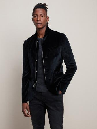 VELVET ZIP BUTTON JACKET