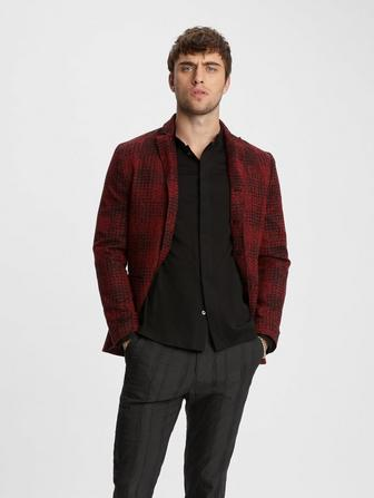 JACQUARD PLAID JACKET