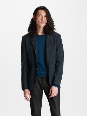 Plaid Peak Lapel Jacket