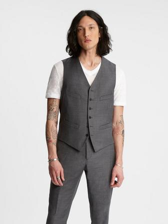 SLIM FIT BUTTON FRONT VEST WITH 4 WELT