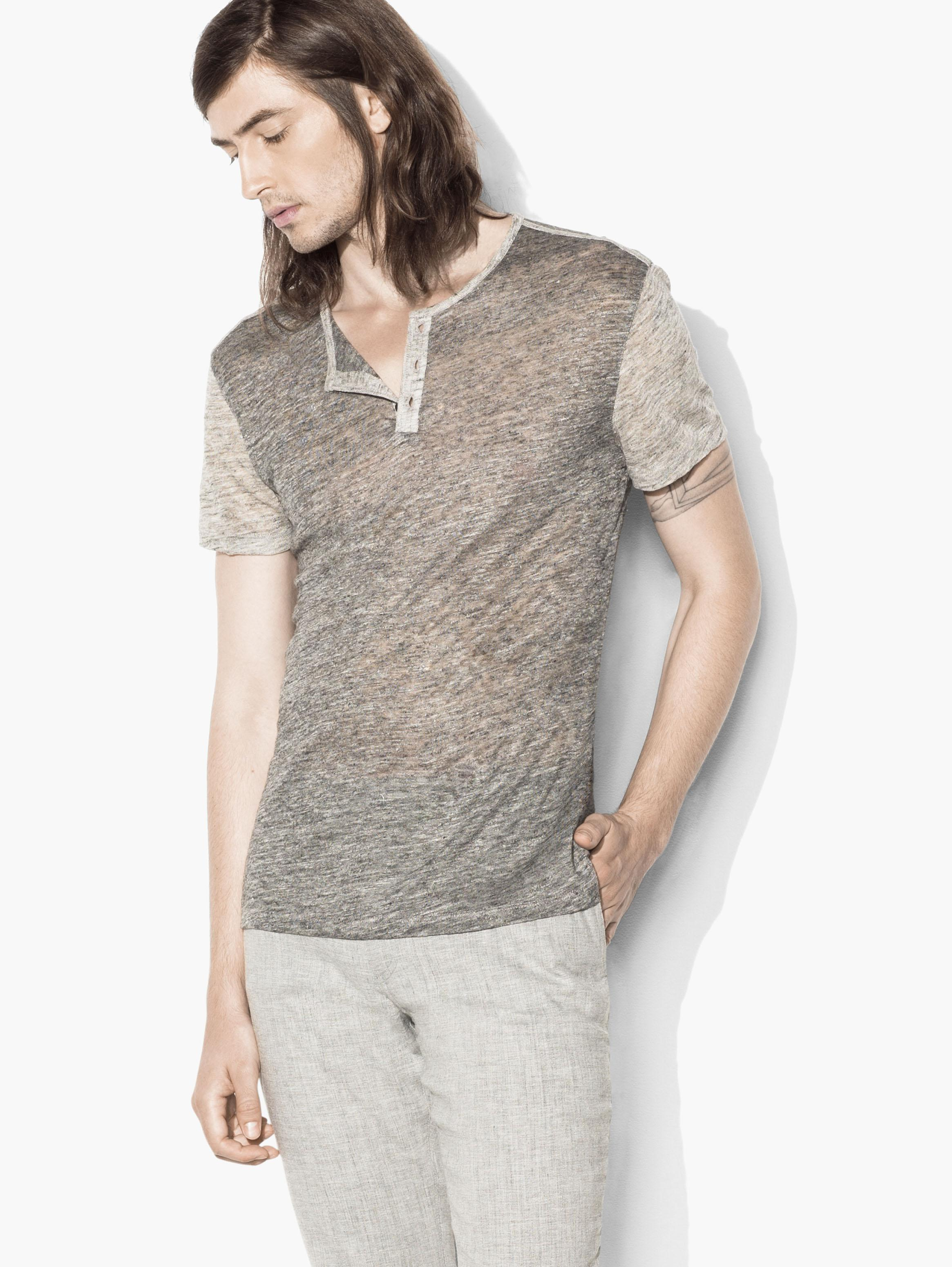 Linen Color Block Henley