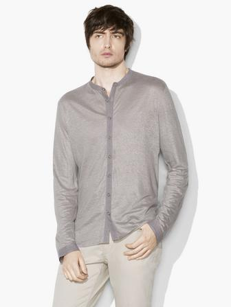 LINEN BAND-COLLAR SHIRT