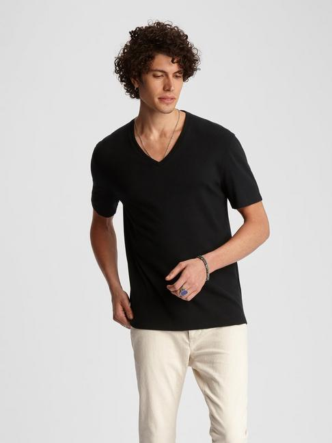 REGULAR FIT V NECK WITH 2X2 RIB & JERSEY