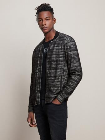 EASY FIT BOMBER JACKET W/ TEXTURE