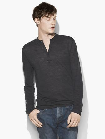 STRAITED LONG SLEEVE HENLEY