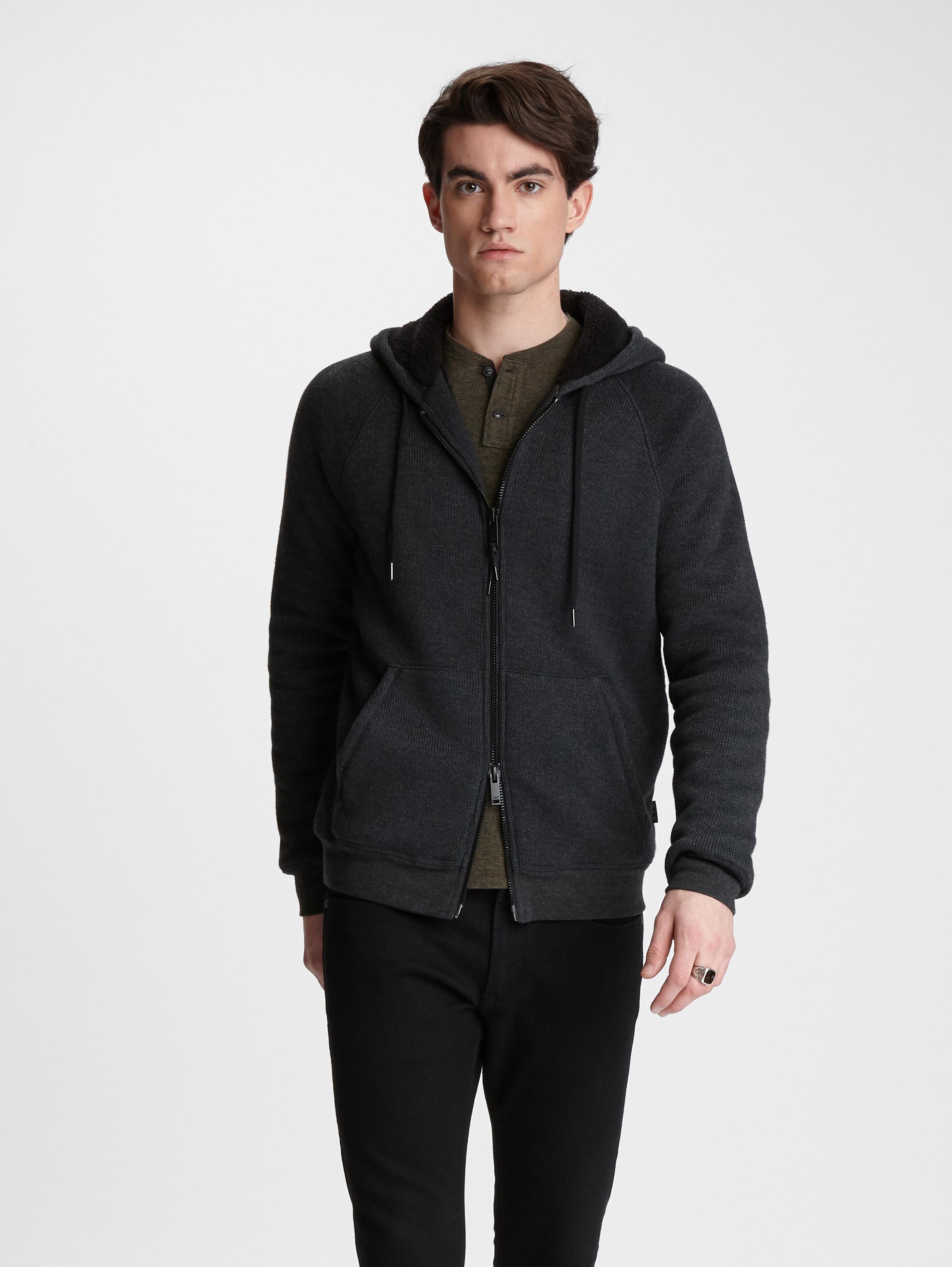 John Varvatos Star USA Men/'s Oxblood Red Cotton Blend Full Zip Hoodie