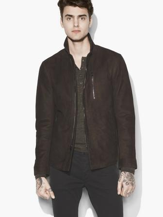 WIRE COLLAR SUEDE JACKET