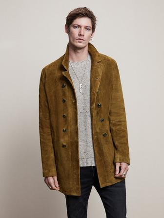 Hairy Suede Double Breasted Coat