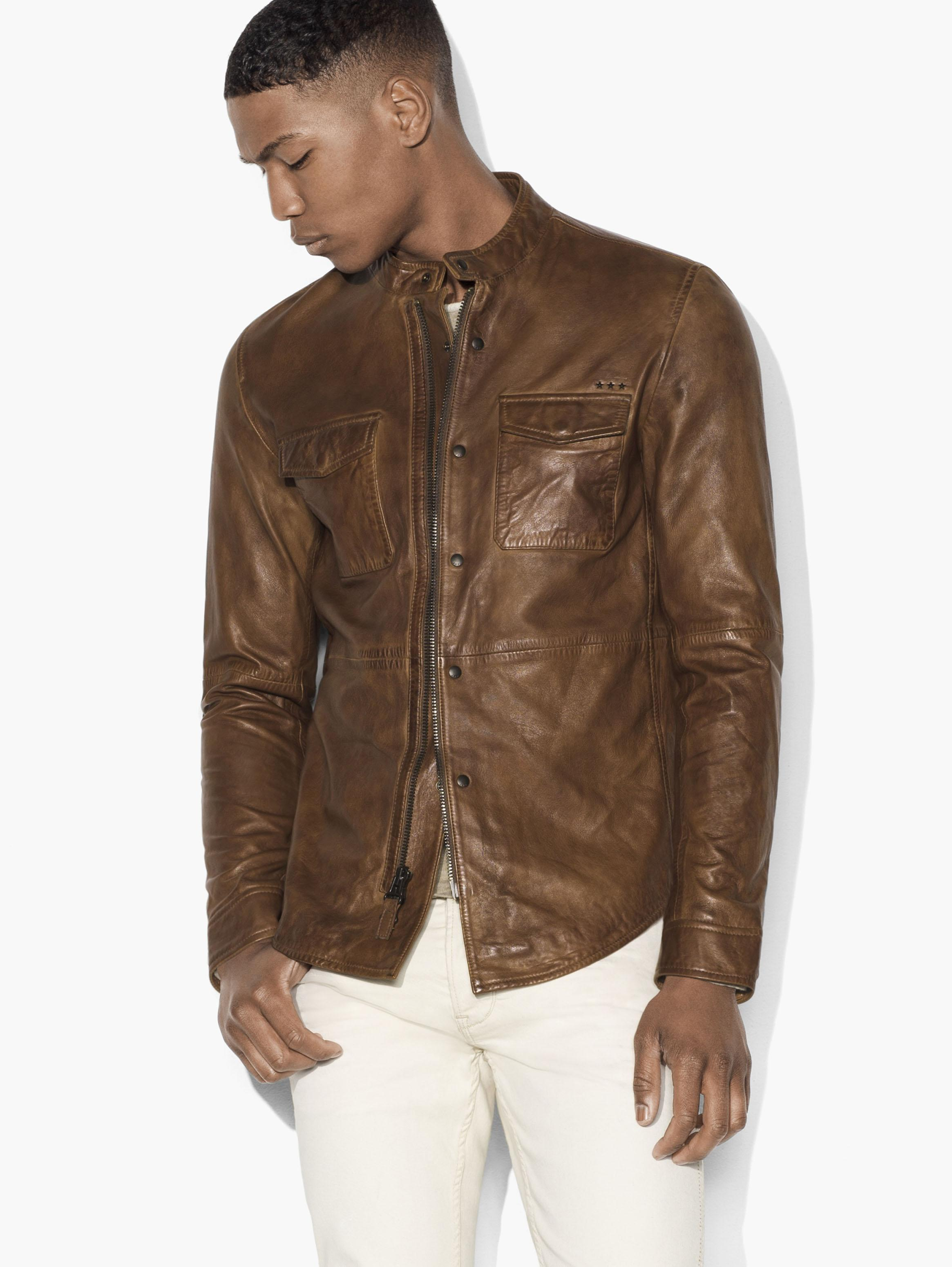 Burnished Leather Shirt Jacket