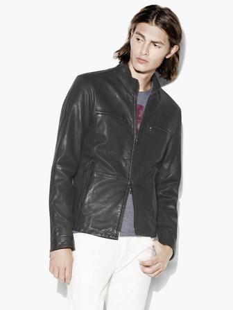 MOCK NECK LEATHER JACKET