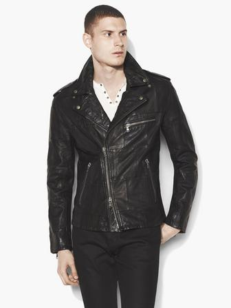 Patchwork Leather Biker Jacket